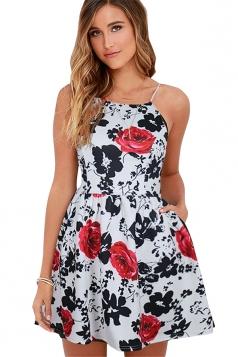 Sexy Sleeveless Backless Flora Print Mini Skater Straps Dress Rose Red