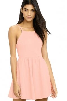 Sleeveless Backless With Pocket Plain Mini Skater Straps Dress Pink