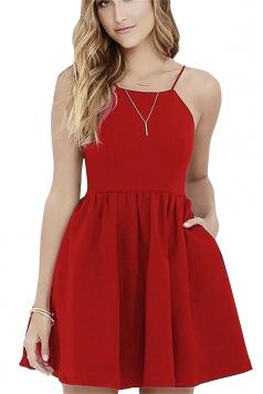 Sleeveless Backless With Pocket Plain Mini Skater Straps Dress Red