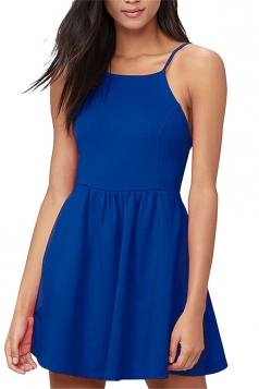Sexy Backless With Pocket Plain Mini Skater Straps Dress Sapphire Blue