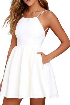 Sleeveless Backless With Pocket Plain Mini Skater Straps Dress White