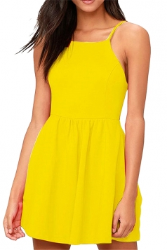 Sleeveless Backless With Pocket Plain Mini Skater Straps Dress Yellow
