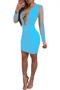 Criss Cross Deep V Long Sleeve Lace Mesh Plain Club Dress Light Blue