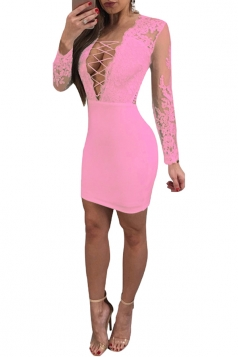 Criss Cross Deep V Backless Lace Up Mesh Plain Lace Club Dress Pink