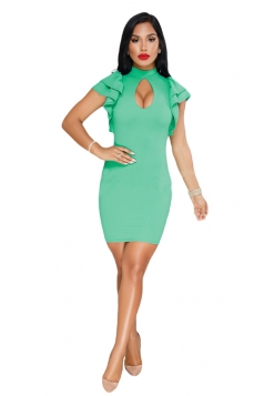 Cut Out Front Ruffle Hem Short Sleeve Plain Bodycon Club Dress Green