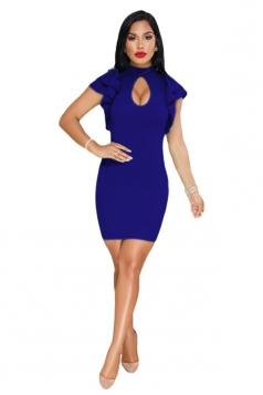 Cut Out Front Ruffle Hem Short Sleeve Bodycon Club Dress Sapphire Blue