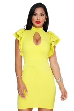 Cut Out Front Ruffle Hem Short Sleeve Plain Bodycon Club Dress Yellow
