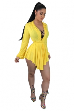Deep V Neck Long Sleeve Asymmetrical Hem Plain Clubwear Dress Yellow