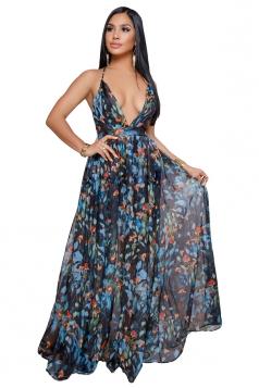Deep V Neck Halter Backless Floral Print Maxi Slip Club Dress Blue