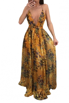 Deep V Neck Halter Backless Floral Print Maxi Slip Club Dress Orange