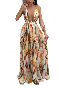 Deep V Neck Halter Backless Floral Print Maxi Slip Club Dress Ginger