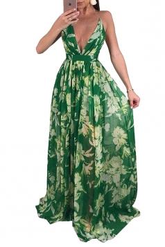 Deep V Neck Halter Backless Floral Print Maxi Slip Club Dress Green