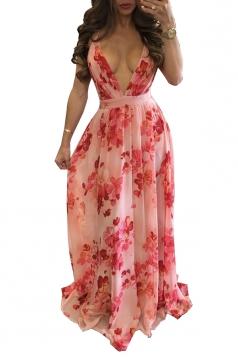 Deep V Neck Halter Backless Floral Print Maxi Slip Club Dress Pink