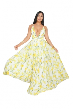 Deep V Neck Halter Backless Floral Print Maxi Slip Club Dress Yellow
