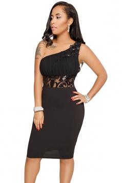 One Shoulder Embroidered Pleated Plain Midi Clubwear Dress Black