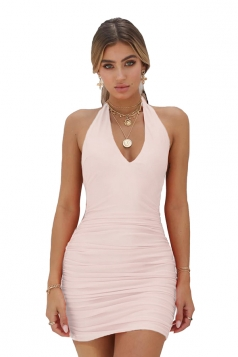 Sexy Halter V Neck Backless Pleated Plain Bodycon Clubwear Dress White