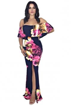 Off Shoulder Ruffle Flower Print Split Bodycon Mermaid Maxi Dress Black