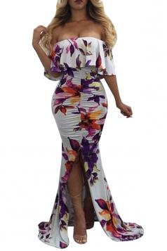 Off Shoulder Ruffle Flower Print Split Bodycon Mermaid Maxi Dress White