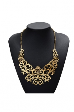Gold Trendy Vintage Hollow Out Heart Flower Shaped Chokers Necklace