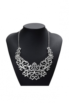 Silvery Trendy Hollow Out Heart Flower Shaped Chokers Necklace