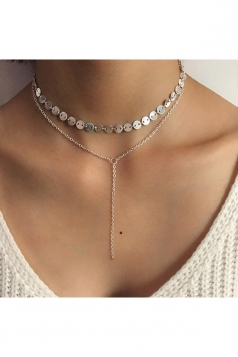 Silvery Sequined Coin Chain Bar Pendant Double Layers Choker Necklace