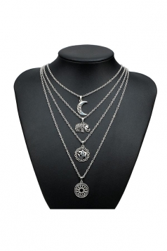 Silvery Trendy Elephant Moon Pendant Three Layers Long Necklace