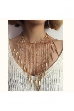 Gold Trendy Tassels Rivet Shaped Bar Pendant Long Punk Necklace