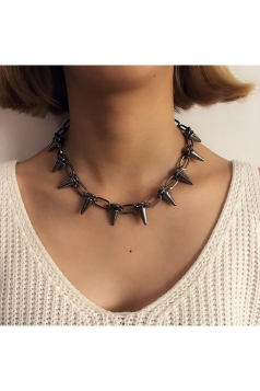Black Trendy Spike Studded Punk Rock Rivet Choker Necklace