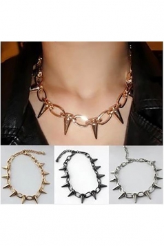 Gold Trendy Spike Studded Punk Rock Rivet Choker Necklace