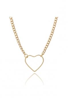 Gold Sweet Hollow Out Short Heart Necklace Choker