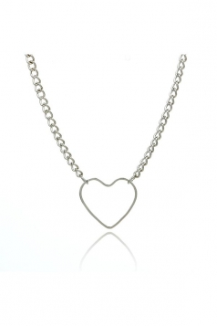 Silvery Sweet Hollow Out Short Heart Necklace Choker