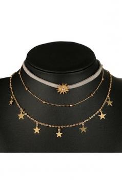 Gold Elegant Stars Design Three Layers Choker Short Necklace