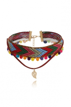 Bohemia National Style Crafts Hand Colourful Leaf Pendant Choker
