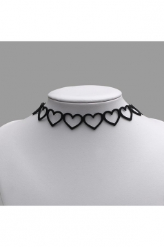 Black Trendy Artificial Leather Cut Out Heart Choker