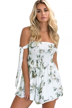 Womens Elastic Off Shoulder Floral Tie Strapless Waisted Romper White
