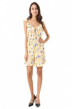 Womens Ruffle Sleeveless Backless Tie Waisted Floral Romper Yellow