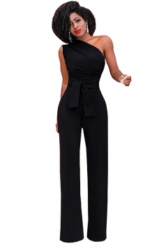 Womens One Shoulder Sleeveless Waist Tie Wide Leg Jumpsuit Black