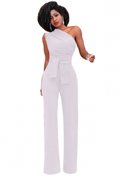 Womens One Shoulder Sleeveless Waist Tie Wide Leg Jumpsuit White