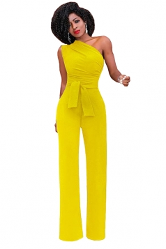 Womens One Shoulder Sleeveless Waist Tie Wide Leg Jumpsuit Yellow