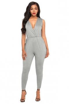 Sexy Deep V Neck Sleeveless Plain Jumpsuit Gray