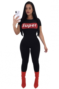 Crew Neck Short Sleeve Close Fitting Back Zipper Sports Jumpsuit Black