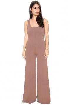U Neck Sleeveless Backless Wide Legs Loose Plain Jumpsuit Coffee