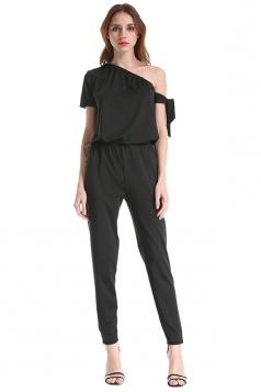 Elegant One Shoulder Short Sleeve Arm Tie Loose Plain Jumpsuit Black