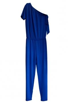 One Shoulder Short Sleeve Arm Tie Loose Plain Jumpsuit Sapphire Blue