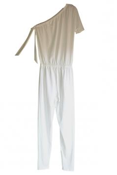 Elegant One Shoulder Short Sleeve Arm Tie Loose Plain Jumpsuit White