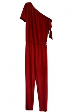 Elegant One Shoulder Short Sleeve Arm Tie Loose Plain Jumpsuit Ruby