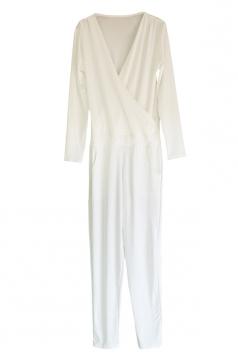 V Neck Long Sleeve Waist Tie With Pocket Plain Surplice Jumpsuit White