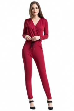 V Neck Long Sleeve Waist Tie With Pocket Plain Surplice Jumpsuit Ruby