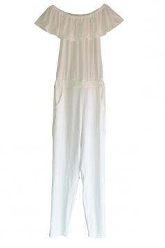 Ruffle Hem Off Shoulder Short Sleeve Waist Tie Plain Jumpsuit White