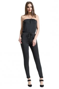Elegant Mesh Patchwork Waist Tie With Pocket Plain Tube Jumpsuit Black
